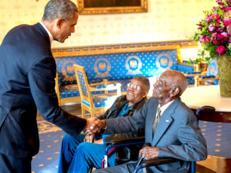 Barack Obama with Richard Overton and Earlene Love Karo