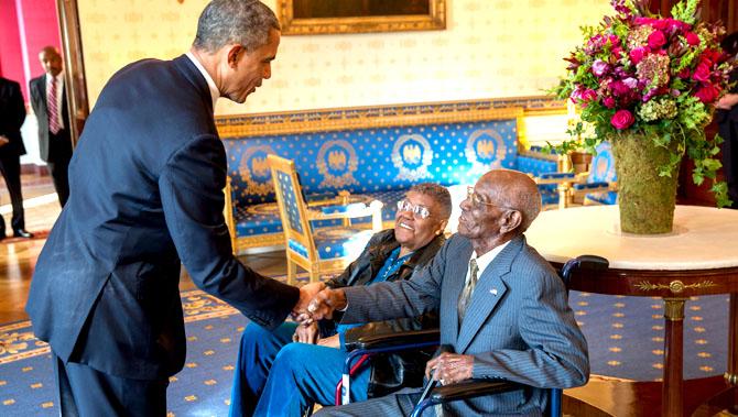 Barack Obama with Richard Overton and Earlene Love Karo