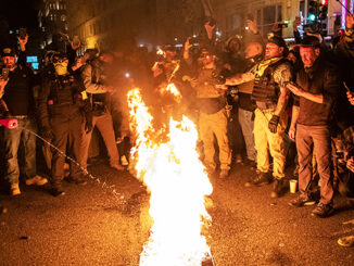 BLM signs on fire